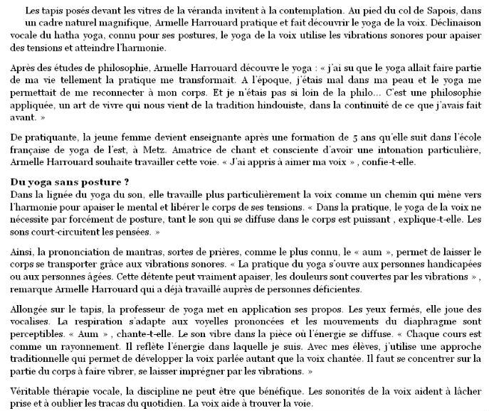 """article Vosges matin 21-10-14 """"le yoga donne de la voix"""""""